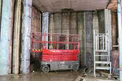 The walls of the basement were formed using secant piling