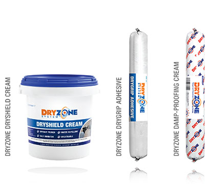 The Dryzone System Product Range: Dryshield Salt Barrier, Drygrip Adhesive and Dryzone Damp-Proofing Cream