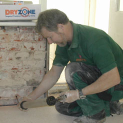 Injection of Dryzone damp-proofing cream