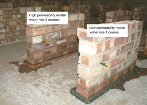 Rising damp in high and low permeability mortars