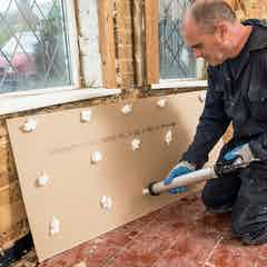 Apply Drygrip Adhesive to the back of the plasterboard