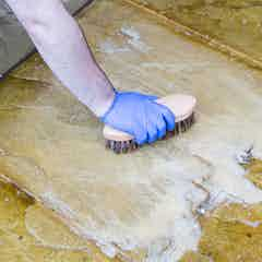Scrub the area with a stiff brush