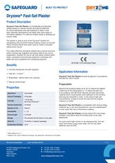 Dryzone Fast Set Plaster Datasheet