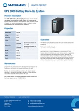 Ups 3000 Battery Back Up System Datasheet
