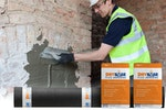 Applying Drybase Flex Adhesive to the salt-contaminated chimney