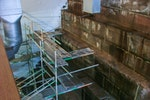 Scaffolds, ladders and harnesses were used to traverse the walls safely
