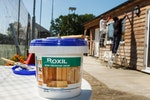 Weatherproofing the clubhouse for 10+ years with a single coat of Roxil Wood Protection Cream