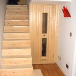 Stairs and sauna after cellar conversion