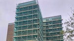 Block of flats with scaffolding ready for Stormdry application